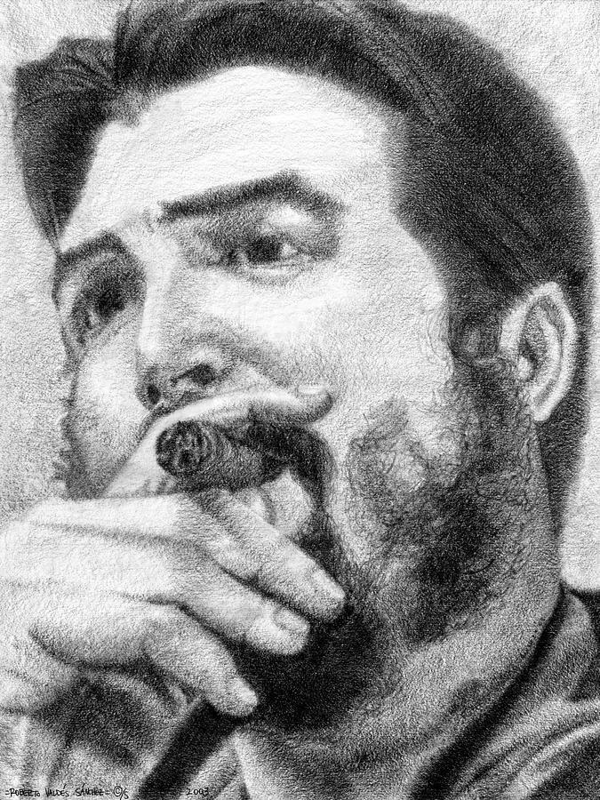Che Drawing - El Che by Roberto Valdes Sanchez