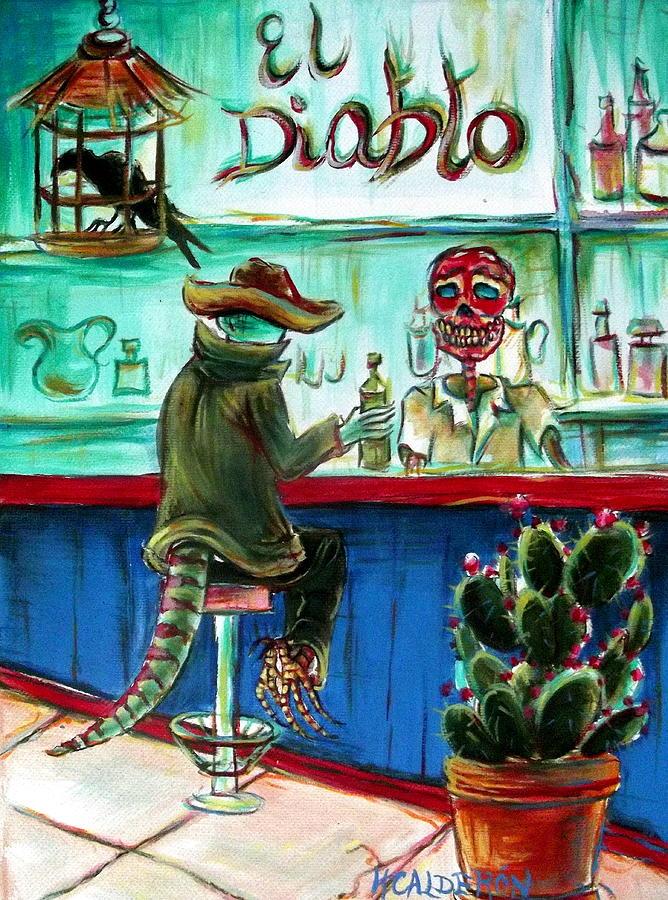 Day Of The Dead Painting - El Diablo by Heather Calderon