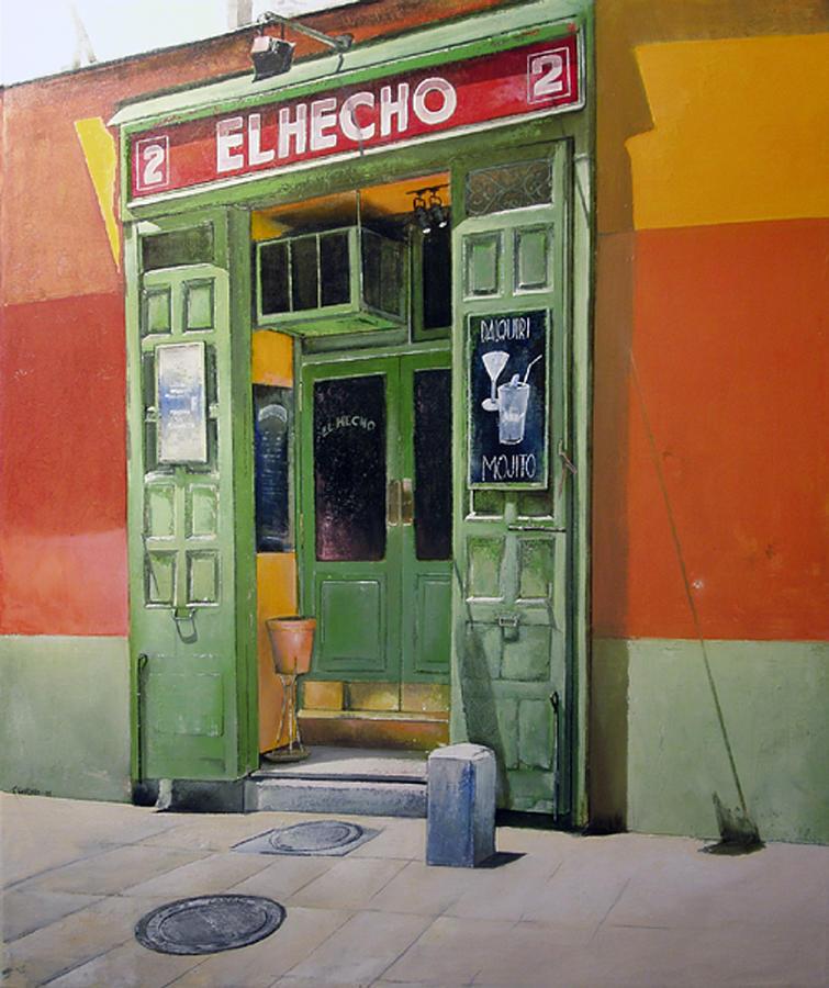 Hecho Painting - El Hecho Pub by Tomas Castano
