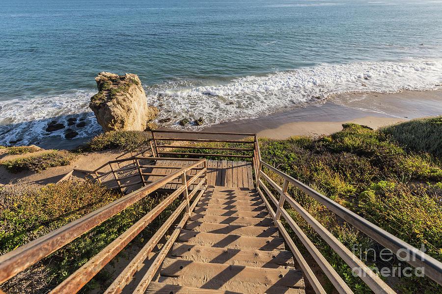 Beach Photograph - El Matador State Beach Stairs in Malibu California by Trekkerimages Photography