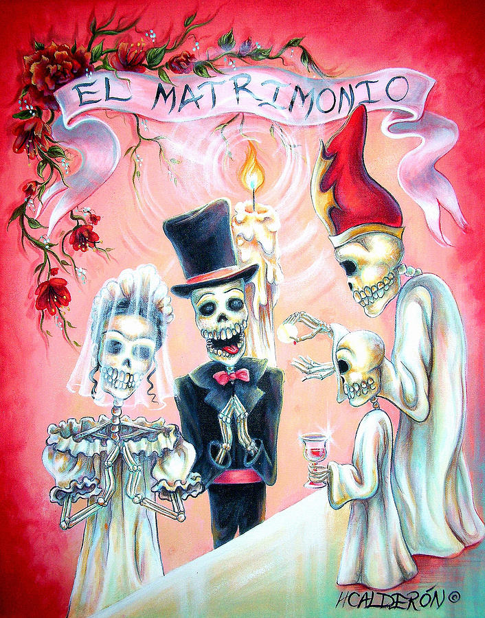 Day Of The Dead Painting - El Matrimonio by Heather Calderon