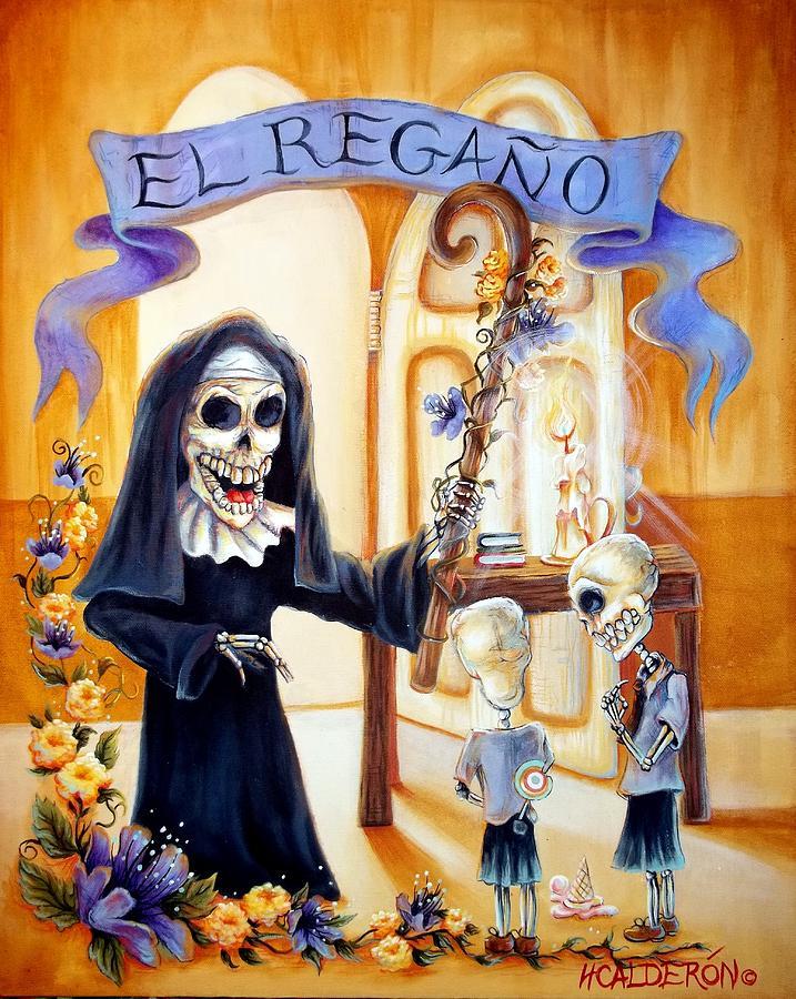 Day Of The Dead Painting - El Regano by Heather Calderon