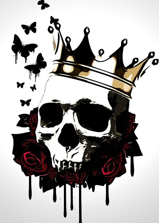 King Digital Art - El Rey De La Muerte by Nicklas Gustafsson
