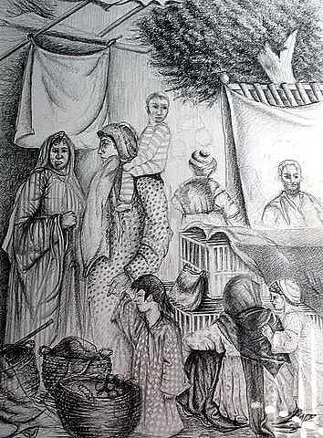 El Souk  Drawing by Samah Fahmy
