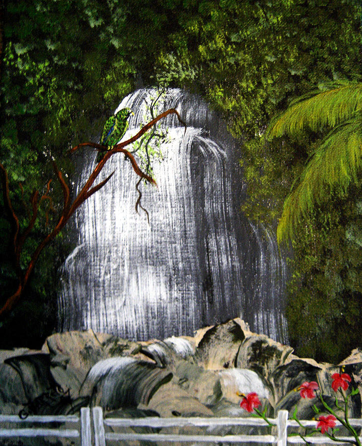 Parrot Painting - El Yunque  by Gloria E Barreto-Rodriguez