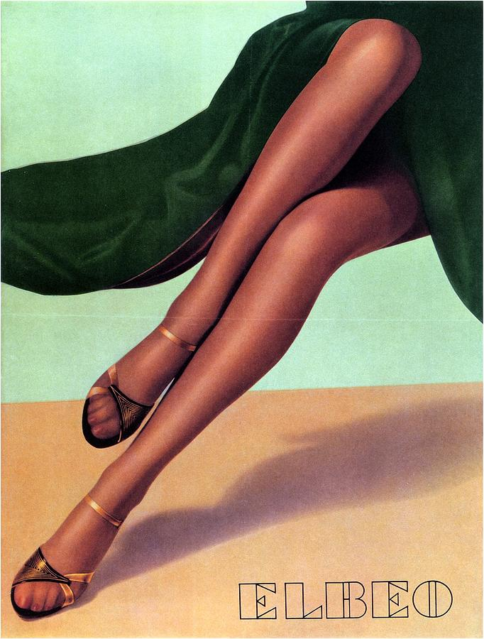f6500beffb2 Elbeo Tights And Stockings - High Heels - Vintage Advertising Poster ...
