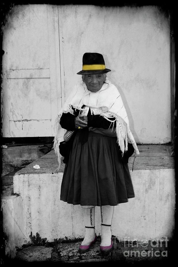 Old Photograph - Elderly Beggar In Biblian by Al Bourassa