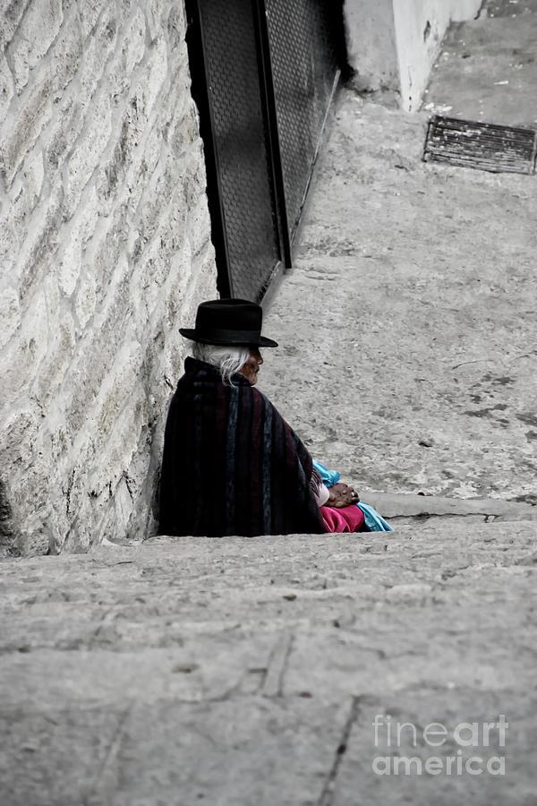 Old Photograph - Elderly Beggar In Chordeleg by Al Bourassa