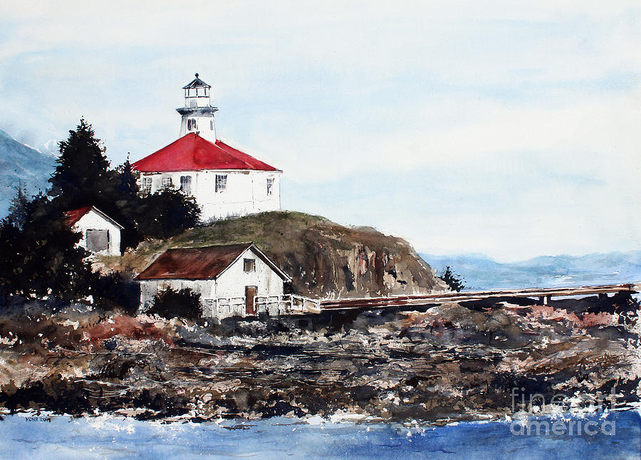 Alaska Painting - Eldred Rock Lighthouse by Monte Toon