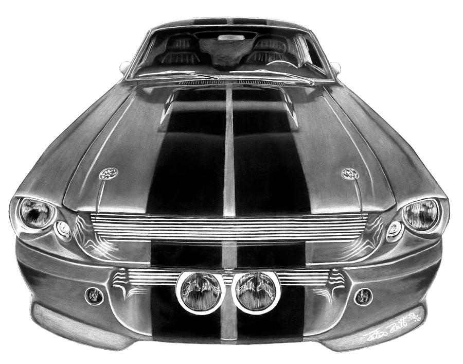 Eleanor Drawing - Eleanor Ford Mustang by Peter Piatt