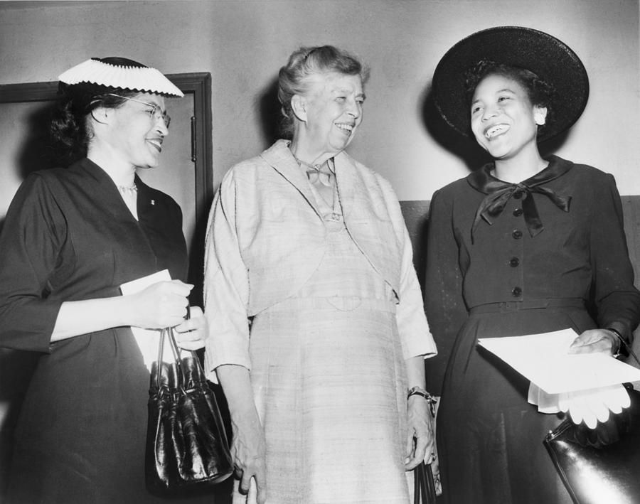 History Photograph - Eleanor Roosevelt, With Two African by Everett