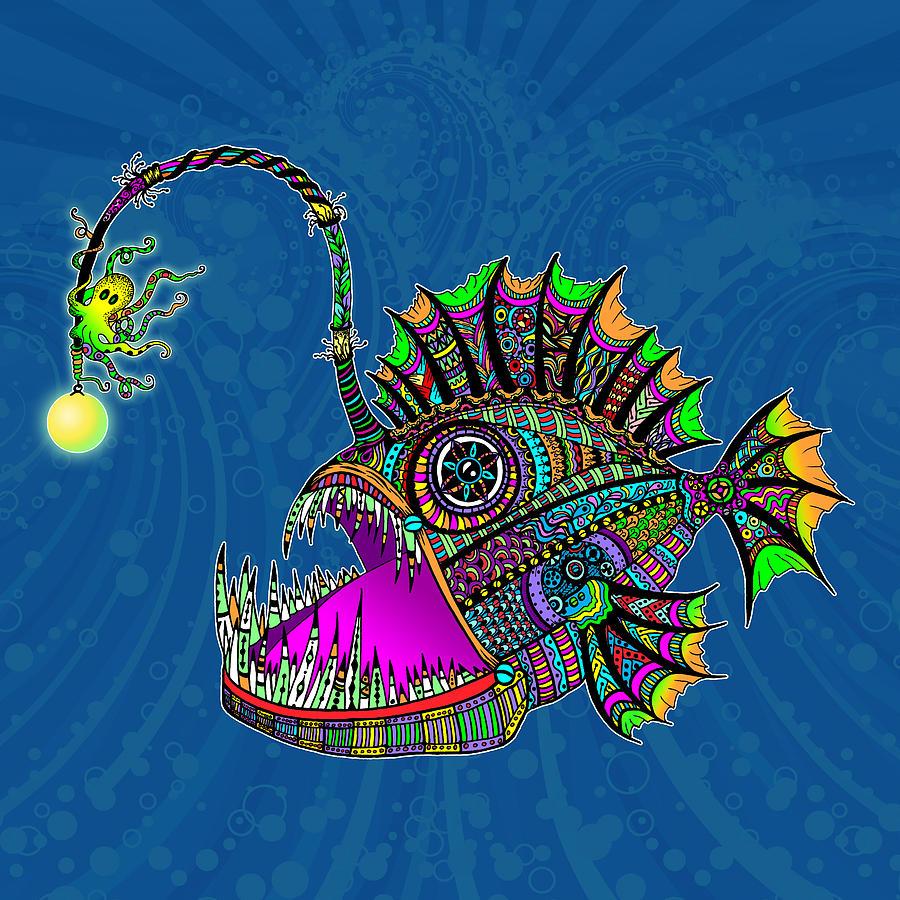 Angler Fish Digital Art - Electric Angler Fish by Tammy Wetzel