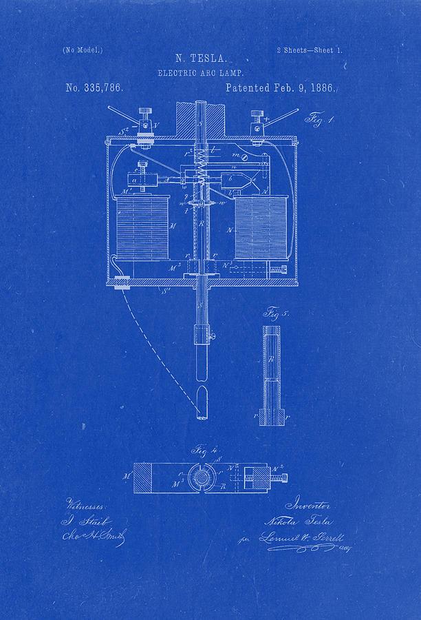 Tesla blueprint tesla image electric arc lamp nikola tesla patent drawing from 1886 tesla blueprint malvernweather Choice Image