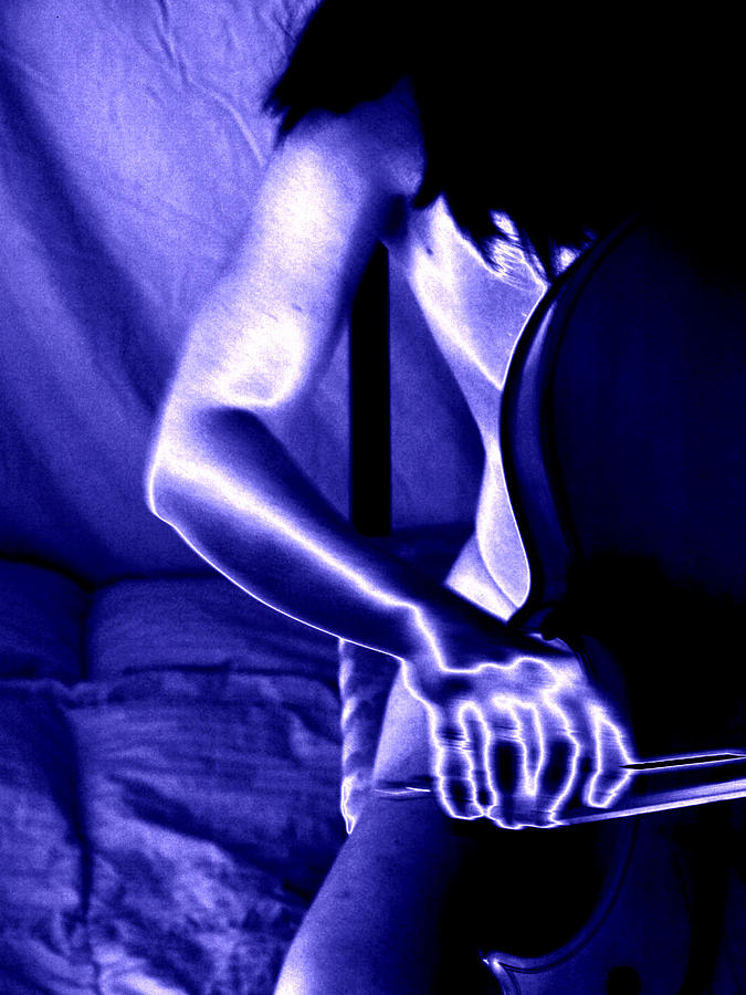 Cello Photograph - Electric Blue by Heidi Berkovitz