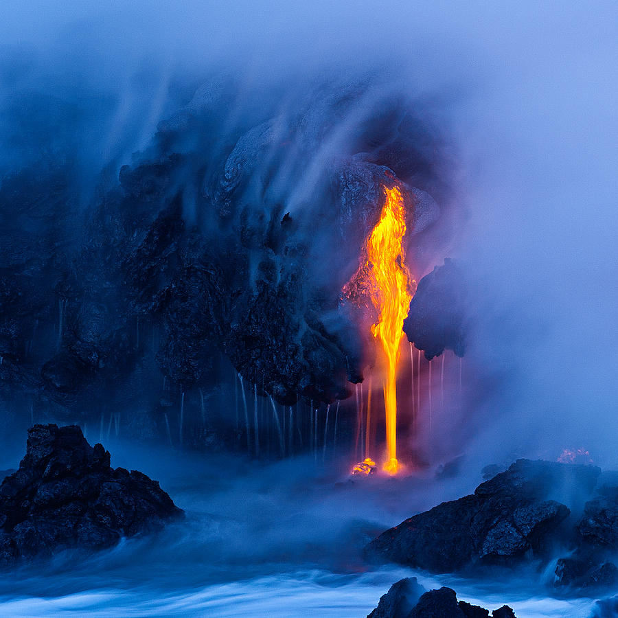 Lava Photograph - Electric Blue by Miles Morgan