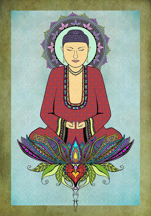 Buddha Digital Art - Electric Buddha by Tammy Wetzel