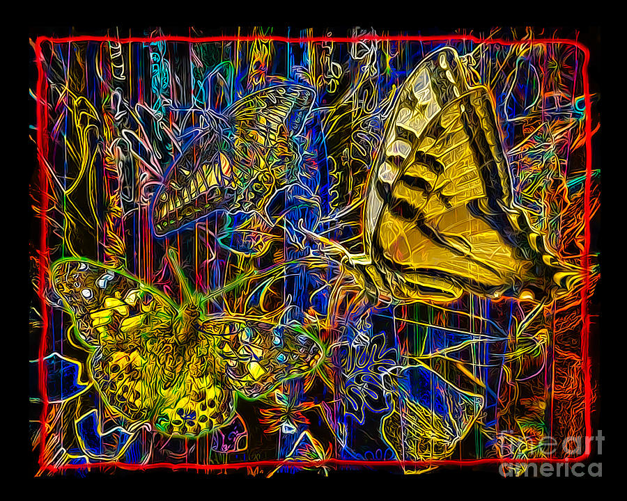 Butterfly Digital Art - Electric Butterflies by Chuck Brittenham