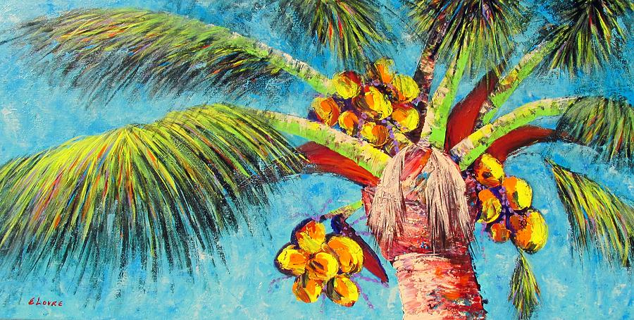 Tropical Painting - Electric Coconuts IIi by Eileen Lovre