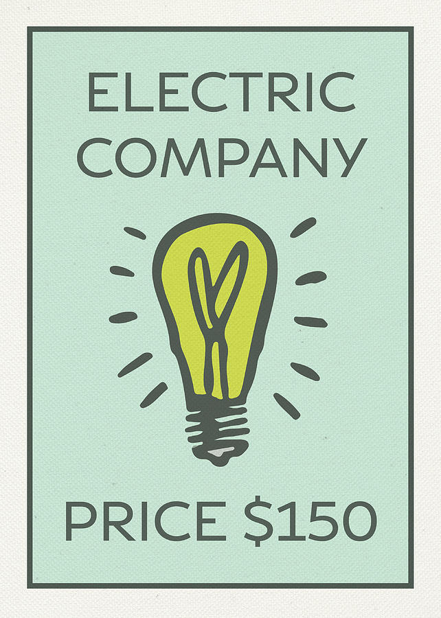 Electric Company Vintage Monopoly Board Game Theme Card