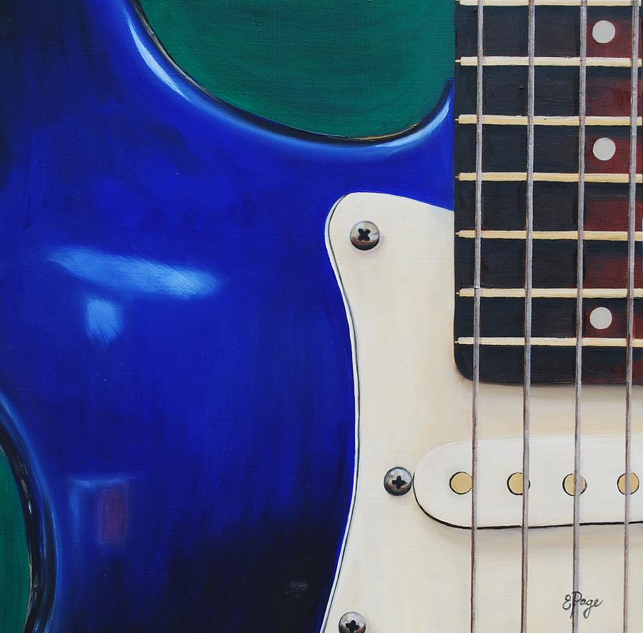 Realism Painting - Electric Guitar in Blue by Emily Page