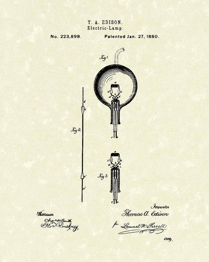 Edison Drawing - Electric Lamp 1880 Patent Art by Prior Art Design