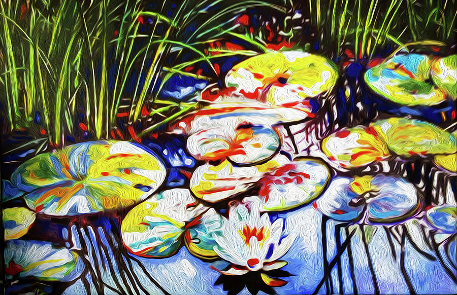 Lilly Pads Painting - Electric Lillypads by Dennis Kirby