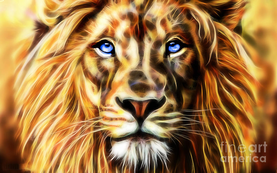 Electric Lion Wall Art Collection Mixed Media by Marvin Blaine