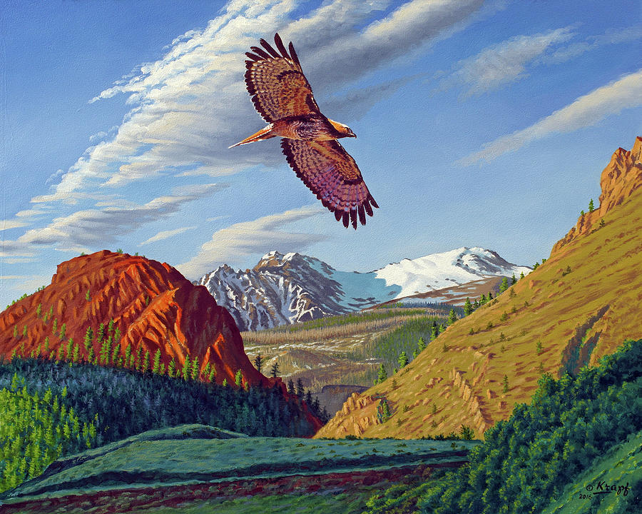 Red-tailed Hawk Painting - Electric Peak With Hawk by Paul Krapf