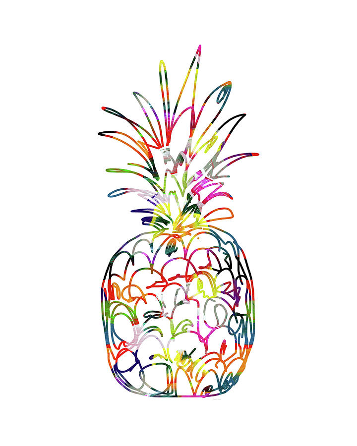 Pineapple Digital Art - Electric Pineapple - Art by Linda Woods by Linda Woods