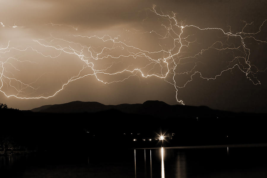 Lightning Photograph - Electric Sepia Skies  by James BO  Insogna