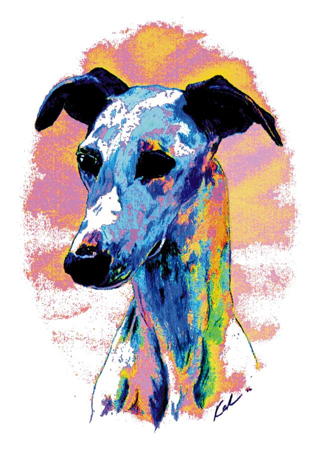 Whippet Digital Art - Electric Whippet by Kathleen Sepulveda