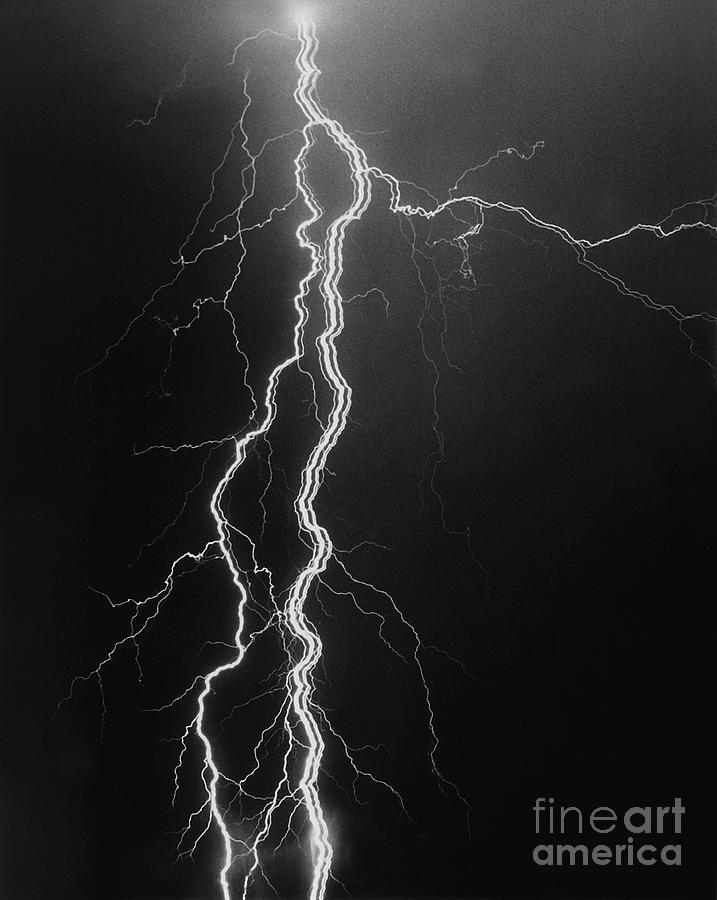 Lightning Photograph - Electrical Pulsation-signed-#039 by J L Woody Wooden