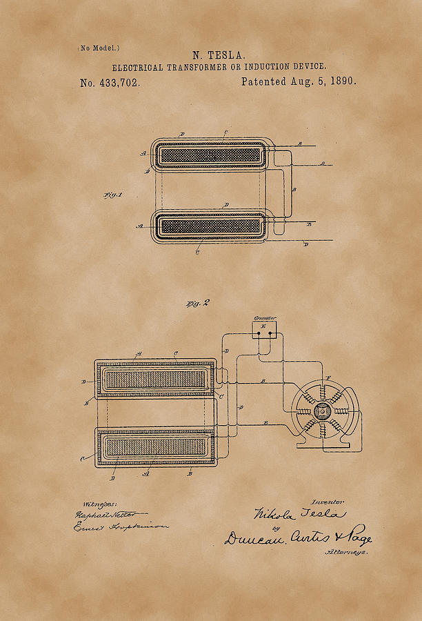 electrical transformer or induction device - nikola tesla patent drawing  from 1890 - vintage paper