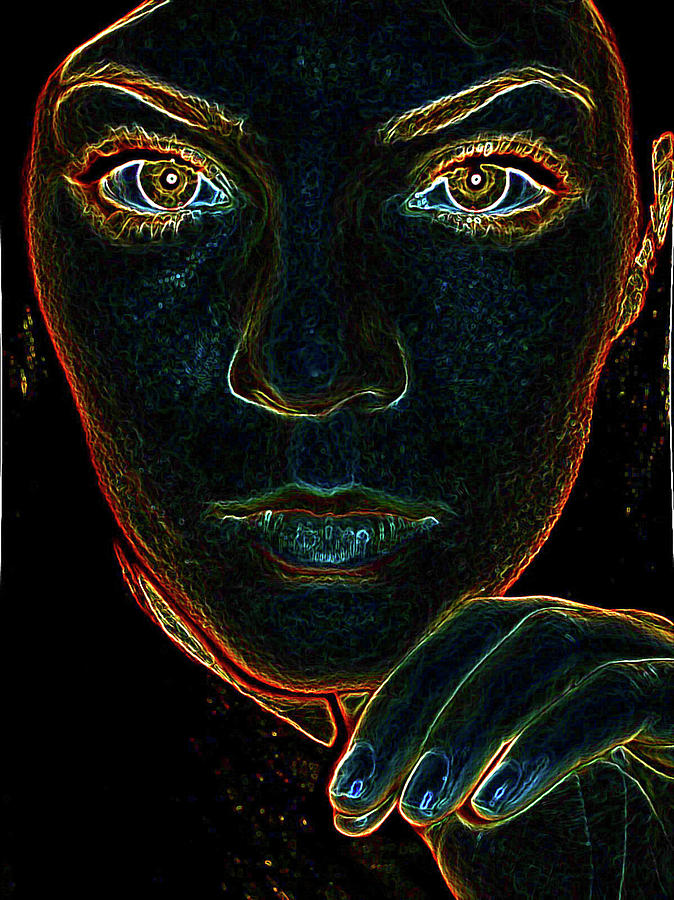 Face Photograph - Electrify by Katie Ransbottom