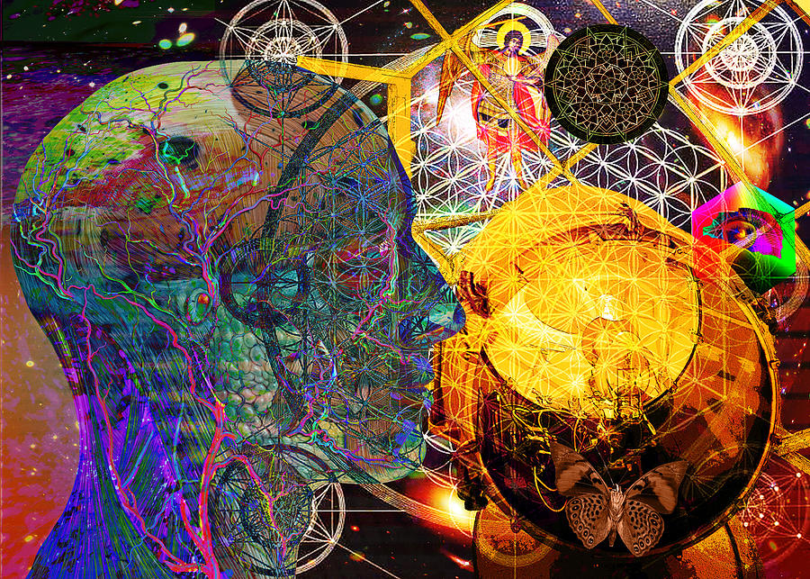 Multi-dimensional Digital Art - Electromagnetic Lighthouse Thirdeye Portal by Joseph Mosley