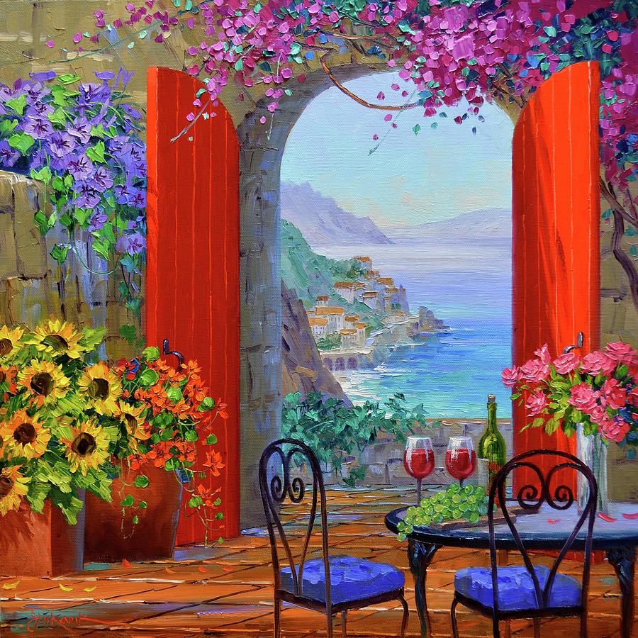 Amalfi Coast Painting - Elegance Of Romance by Mikki Senkarik