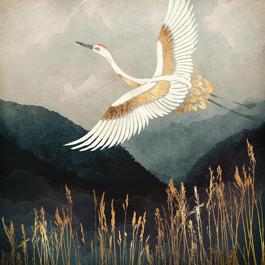 Crane Digital Art - Elegant Flight by Spacefrog Designs