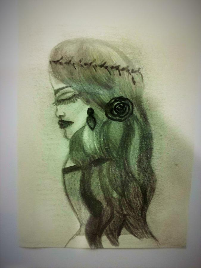 Lady Drawing - Elegant lady by Lynette Fekete