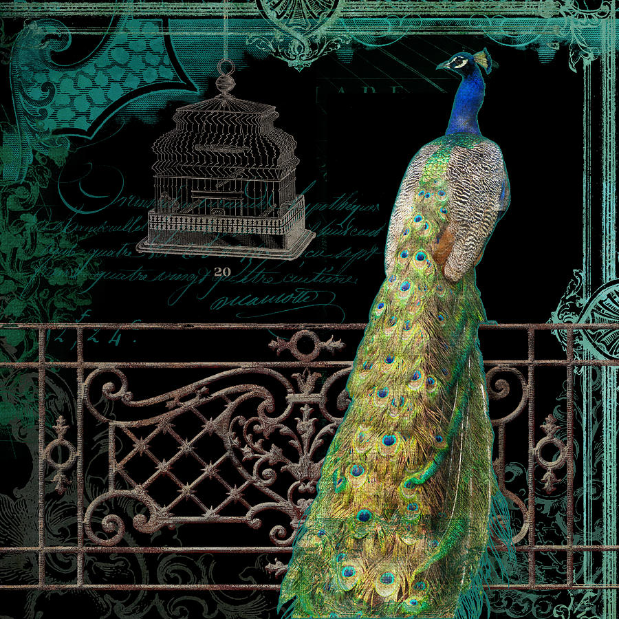 Elegant Peacock Iron Fence W Vintage Scrolls 4 Mixed Media