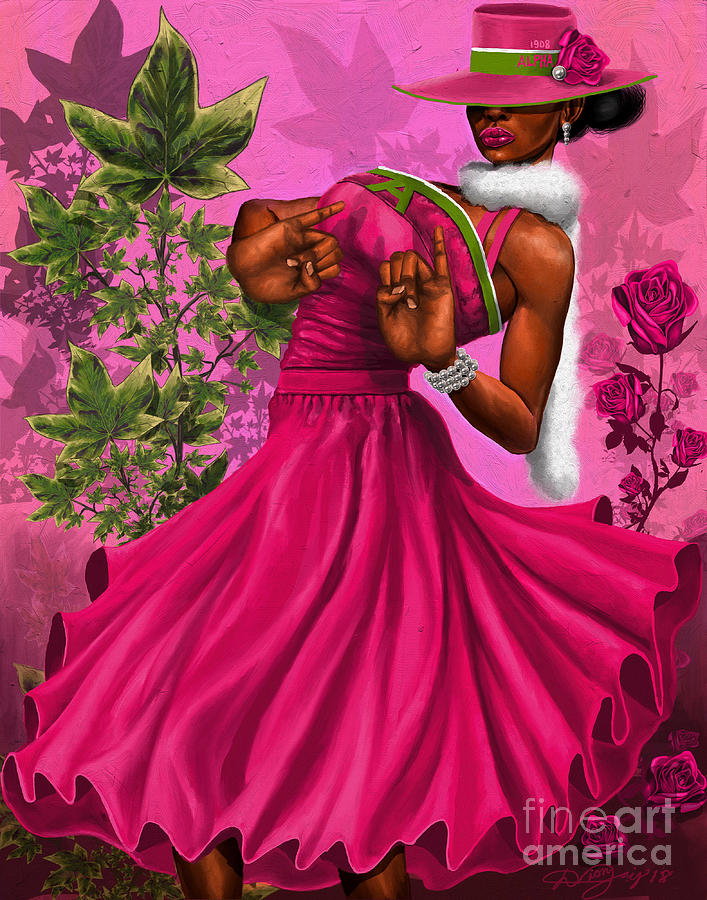 Sorority Digital Art - Elegant Pink And Green by The Art of DionJaY
