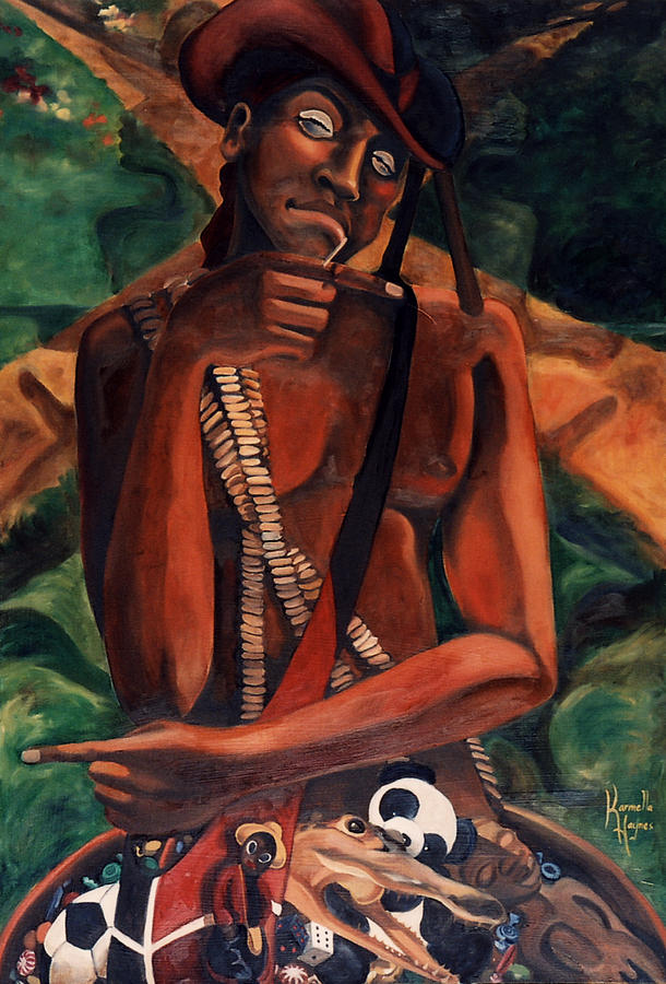 Afro-cuban Painting - Elegba At The Crossroads by Karmella Haynes