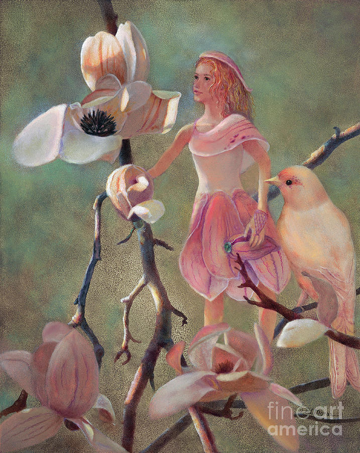 Flower Fairy Painting - Elena Magnolia Fairy And Bird by Nancy Lee Moran