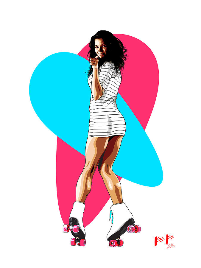 Pinup Digital Art - Elena on Skates by Dillan Weems