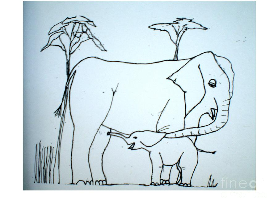 Baby Drawing - Elepahant And Baby by Hal Newhouser