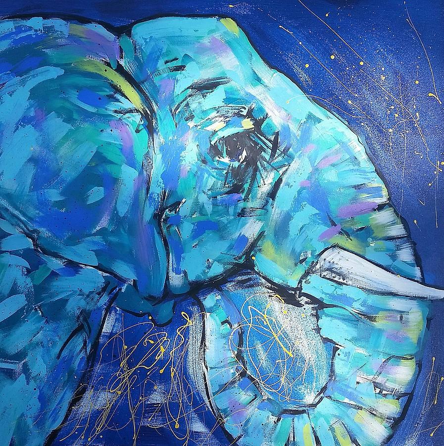 Eyelashes Painting - Elephant #1 by Arrin Burgand