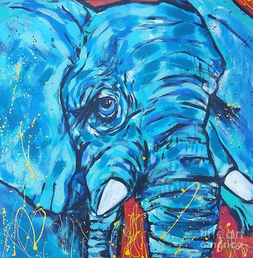 Blue Painting - Elephant #3 by Arrin Burgand
