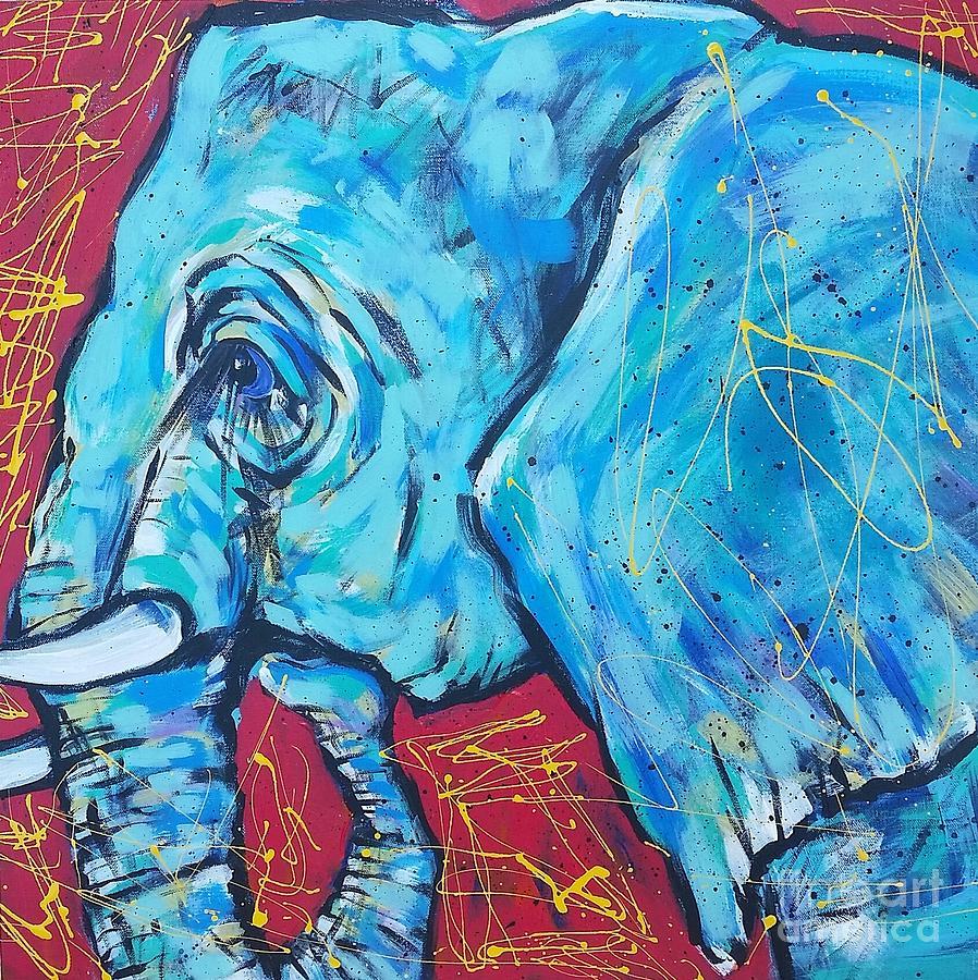 Blue Painting - Elephant #4 by Arrin Burgand