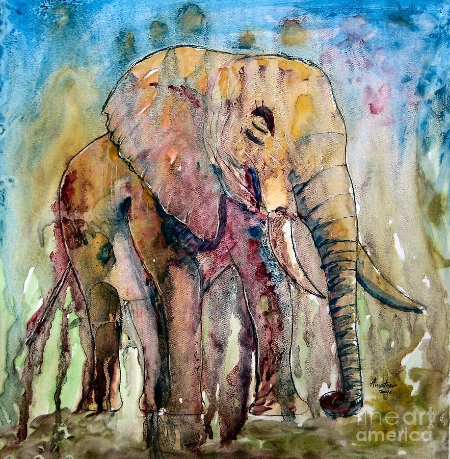 Watercolour Painting - Elephant by Anastasis  Anastasi