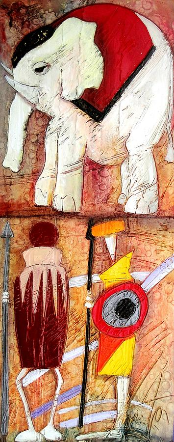 Quadri Painting - Elephant And Warriors by Anita