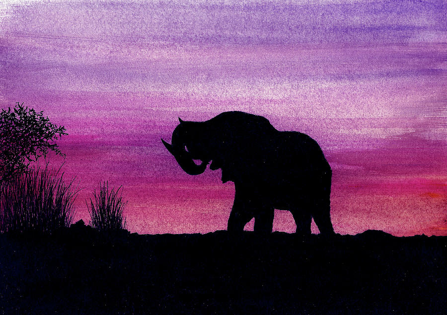 Animals Painting - Elephant at Dusk - Silhouette by Michael Vigliotti